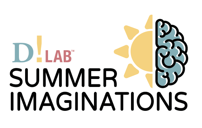A graphic logo for D!Lab Summer Imaginations